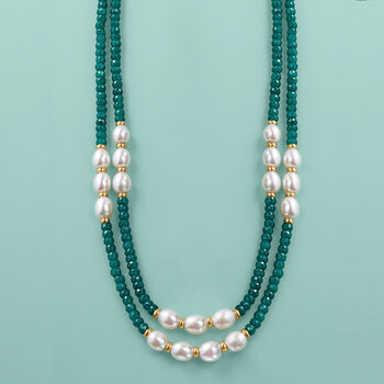 4-5mm Emerald Bead and 7-8mm Cultured Pearl Two-Strand Necklace with 14kt Yellow Gold, , default