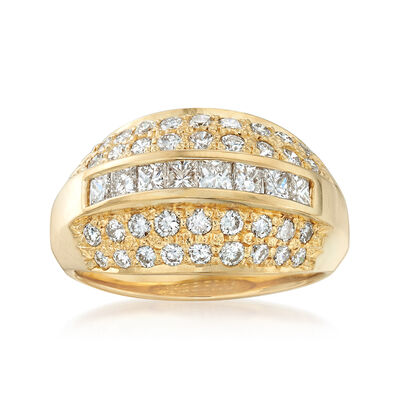 C. 1990 Vintage 1.60 ct. t.w. Diamond Ring in 18kt Yellow Gold, , default