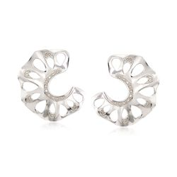 .10 ct. t.w. Diamond C-Shaped Cutout Earrings in Sterling Silver , , default