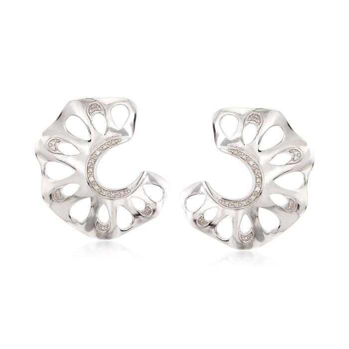 .10 ct. t.w. Diamond C-Shaped Cutout Earrings in Sterling Silver , , default