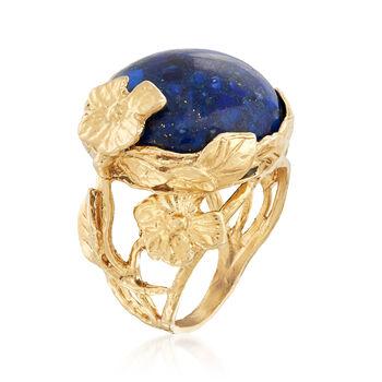 Lapis Cabochon Floral Ring in 18kt Gold Over Sterling, , default