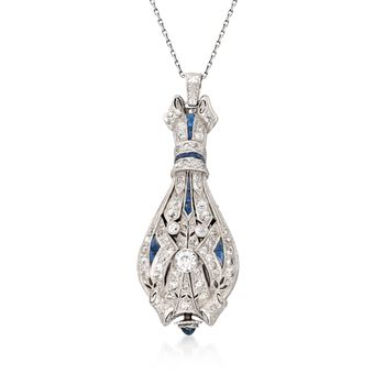 """C. 1910 Vintage Ebel 1.15 ct. t.w. Diamond and .40 ct. t.w. Synthetic Sapphire Watch Pendant Necklace in Platinum and 14kt White Gold. 18"""", , default"""