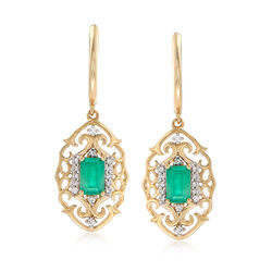 Emerald and Diamond Drop Earrings in 14kt Yellow Gold, , default