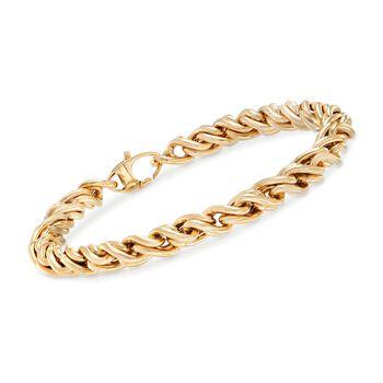 Italian 14kt Yellow Gold Wheat-Link Bracelet, , default