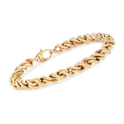 Italian 14kt Yellow Gold Wheat-Link Bracelet, , default