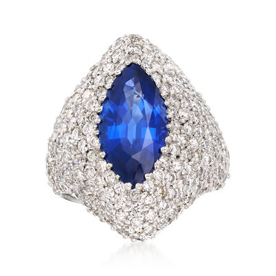 4.00 Carat Sapphire and 3.75 ct. t.w. Diamond Ring in 18kt White Gold, , default