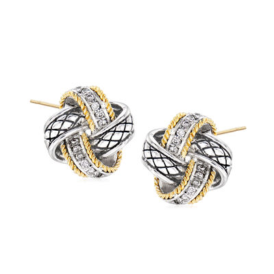 "Andrea Candela ""Nudo De Amor"" .12 ct. t.w. Diamond Love Knot Earrings in Sterling Silver and 18kt Yellow Gold"