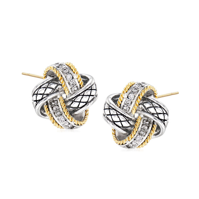 """Andrea Candela """"Nudo De Amor"""" .12 ct. t.w. Diamond Love Knot Earrings in Sterling Silver and 18kt Yellow Gold"""