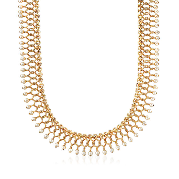"""C. 1980 Vintage Tiffany Jewelry """"Cleopatra"""" 3.5x4mm Cultured Pearl Necklace in 18kt Yellow Gold"""