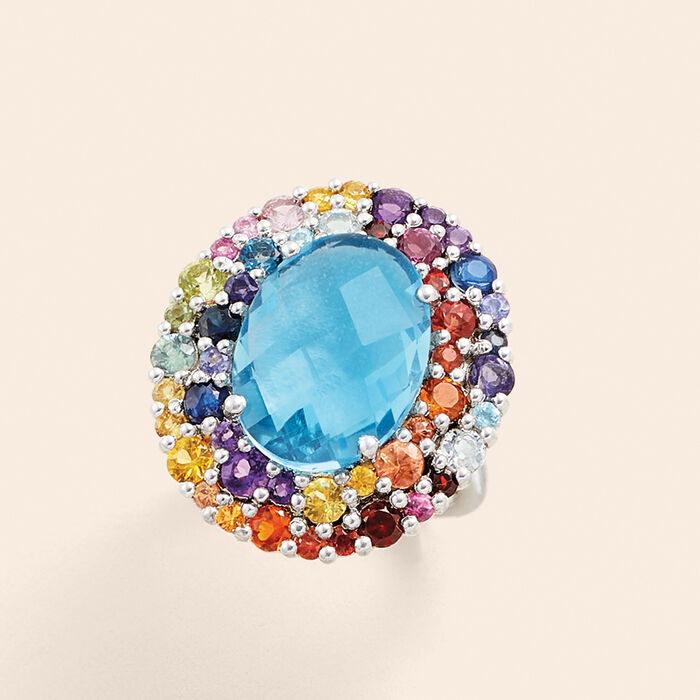 12.70 ct. t.w. Multi-Gemstone Halo Ring in Sterling Silver