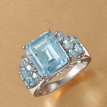 9.05 ct. t.w. Blue Topaz Ring in Sterling Silver, , default
