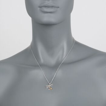 ".10 ct. t.w. Diamond Mother Giraffe and Baby Pendant Necklace in Sterling Silver and 18kt Gold Over Sterling. 18"", , default"