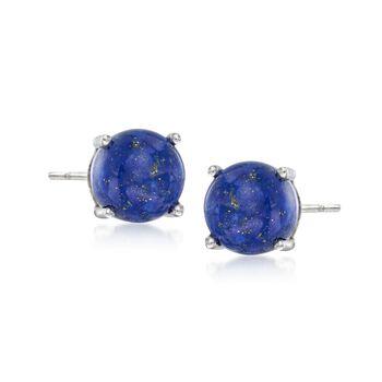8mm Blue Lapis Stud Earrings in Sterling Silver , , default