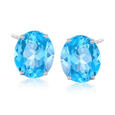 12.00 ct. t.w. Blue Topaz Stud Earrings in 14kt White Gold, , default