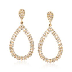 1.04 ct. t.w. Diamond Open Teardrop Earrings in 14kt Yellow Gold, , default