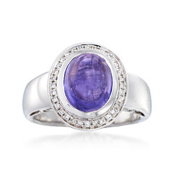4.20 Carat Tanzanite and .17 ct. t.w. Diamond Ring in 14kt White Gold, , default