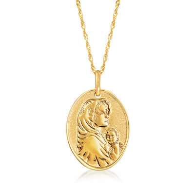 Italian 14kt Yellow Gold Blessed Mother Adjustable Pendant Necklace