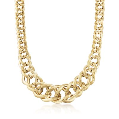 Italian 14kt Yellow Gold Graduated Marquise Link Necklace, , default