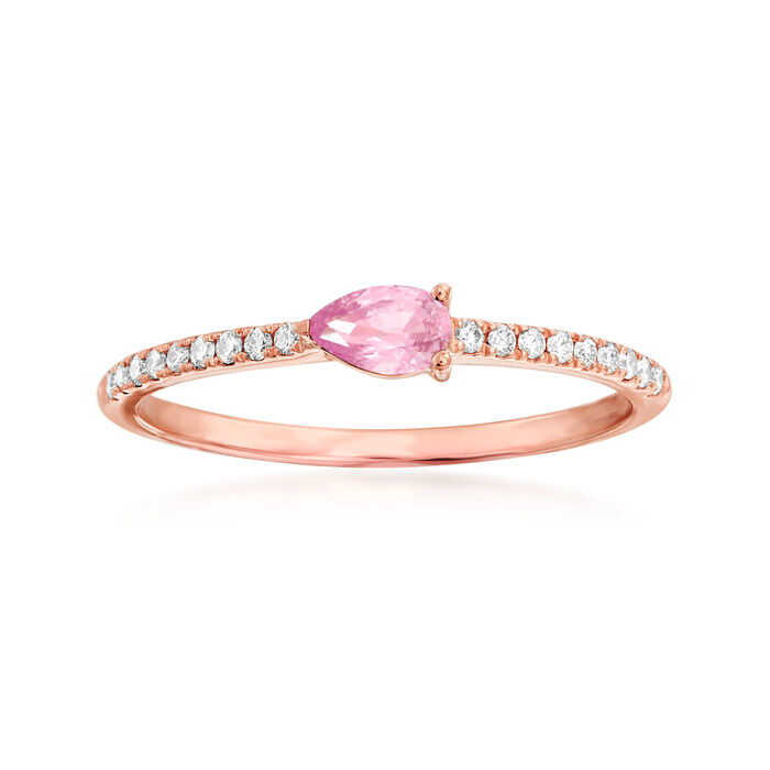 .30 Carat Pink Sapphire and .10 ct. t.w. Diamond Ring in 14kt Rose Gold