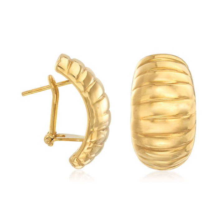 Italian 18kt Yellow Gold Ribbed Earrings, , default