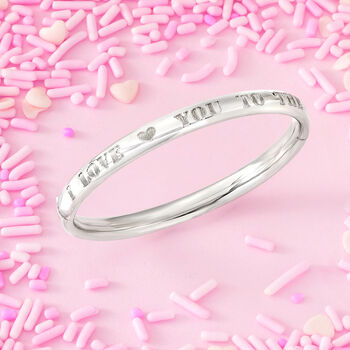 "Child's ""I Love You to the Moon and Back"" Bangle Bracelet in Sterling Silver. 5.5"", , default"