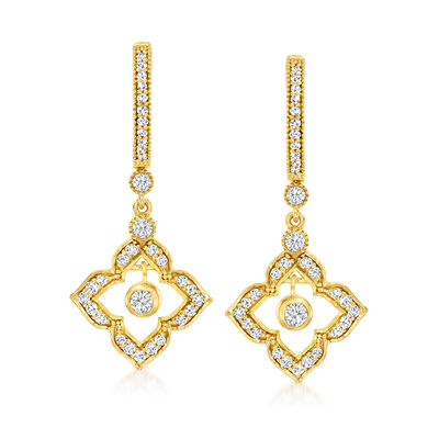 .75 ct. t.w. Diamond Flower Hoop Drop Earrings in 18kt Gold Over Sterling