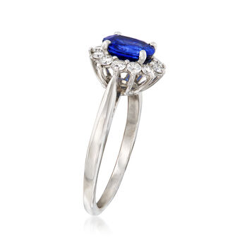 C. 1990 Vintage Tiffany Jewelry 1.40 Carat Sapphire and .40 ct. t.w. Diamond Ring in Platinum. Size 6