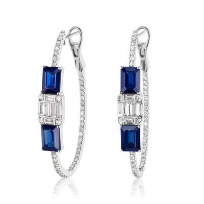 4.70 ct. t.w. Sapphire and 1.45 ct. t.w. Diamond Inside-Outside Hoop Earrings in 18kt White Gold