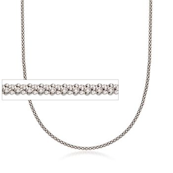 1.5mm Sterling Silver Fancy Popcorn Chain Necklace, , default