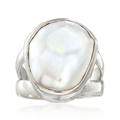 16.5-17.5mm Cultured Biwa Pearl Ring in Sterling Silver, , default