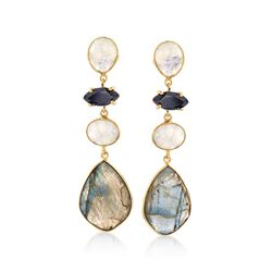 Multi-Shaped Multi-Stone Drop Earrings in 18kt Gold Over Sterling, , default