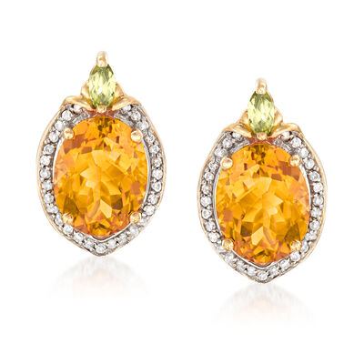 3.60 ct. t.w. Citrine and .14 ct. t.w. Diamond Earrings with .10 ct. t.w. Peridot in 14kt Yellow Gold, , default