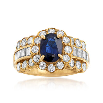 C. 1990 Vintage 1.05 Carat Sapphire and 1.40 ct. t.w. Diamond Ring in 18kt Yellow Gold, , default