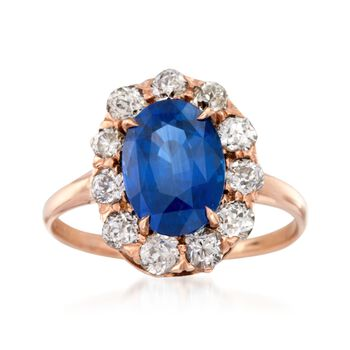C. 1900 Vintage 3.38 Carat Sapphire and .90 ct. t.w. Diamond Ring in 14kt Rose Gold. Size 6.75, , default