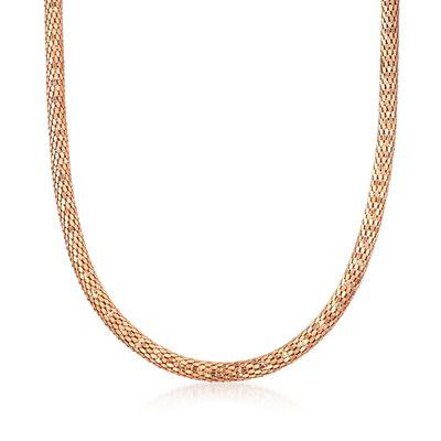C. 2000 Vintage 18kt Rose Gold Mesh Tube Necklace, , default