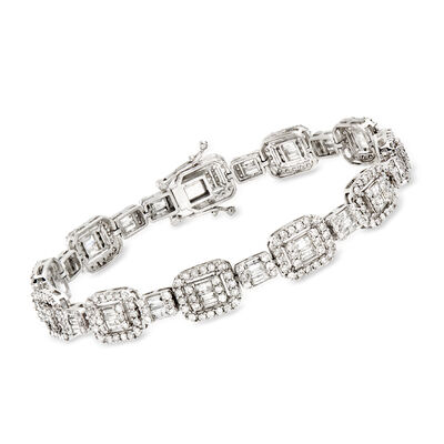 5.20 ct. t.w. Baguette and Round Diamond Bracelet in 14kt White Gold