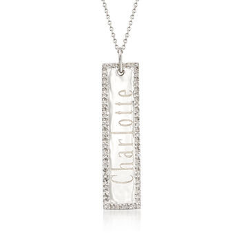 .11 ct. t.w. Diamond Engravable Bar Necklace in 14kt White Gold, , default
