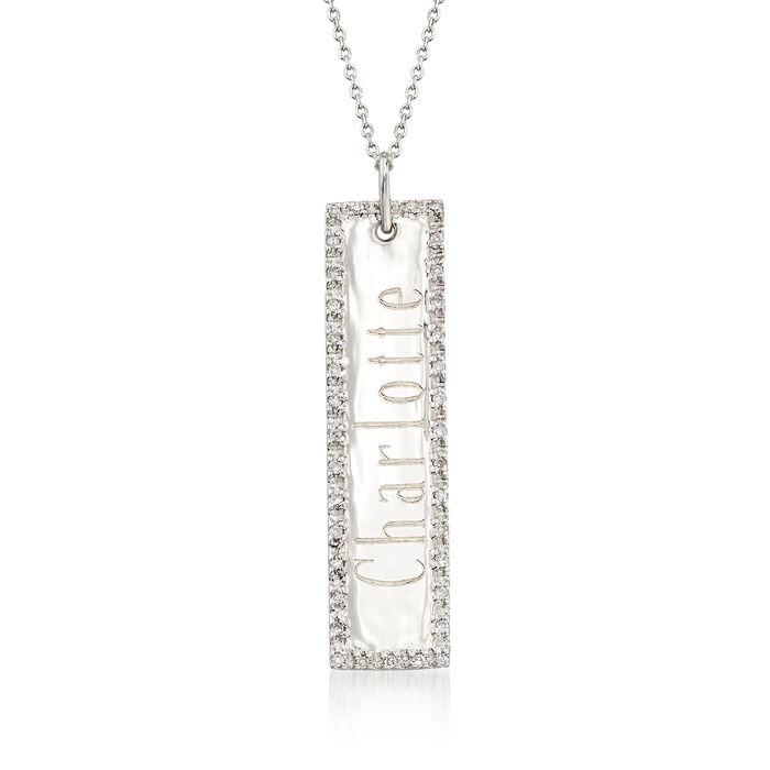 .11 ct. t.w. Diamond Engravable Bar Necklace in 14kt White Gold, , default