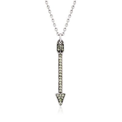 .24 ct. t.w. Peridot Arrow Pendant Necklace in Sterling Silver, , default