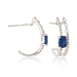 .90 ct. t.w. Sapphire and .30 ct. t.w. Diamond Double Row Earrings in 14kt White Gold, , default