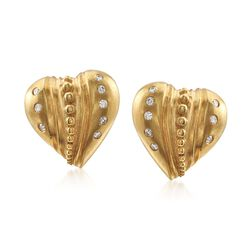 C. 1980 Vintage .35 ct. t.w. Diamond Heart Earrings in 18kt Yellow Gold , , default