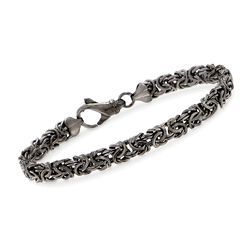Sterling Silver Byzantine Bracelet in Black, , default