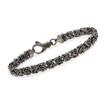 Sterling Silver Byzantine Bracelet in Black, , default