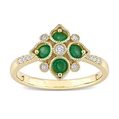 .32 ct. t.w. Emerald and .11 ct. t.w. Diamond Geometric Ring in 14kt Yellow Gold