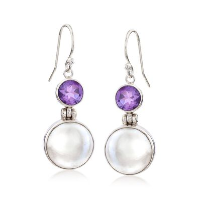 2.50 ct. t.w. Amethyst and 13mm Cultured Mabe Pearl Drop Earrings in Sterling Silver, , default