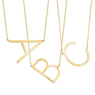 14kt Yellow Gold Sideways Single Initial Necklace