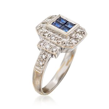 C. 1990 Vintage .40 ct. t.w. Sapphire and .50 ct. t.w. Diamond Ring in 18kt White Gold. Size 6.5, , default