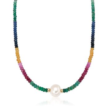 12-13mm Cultured Pearl and Multicolored Sapphire Necklace in 14kt Yellow Gold, , default