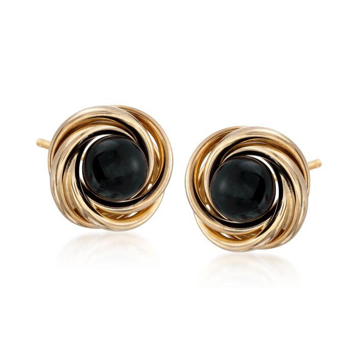 Black Onyx Stud Swirl Knot Earrings in 14kt Yellow Gold, , default