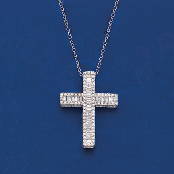 1.00 ct. t.w. Baguette and Round Diamond Cross Pendant Necklace in Sterling Silver, , default